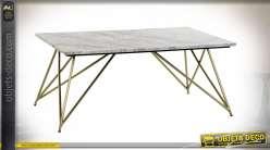 TABLE BASSE MARBRE LAITON 100X61X42 MARBRE BLANC