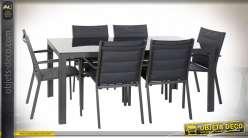 TABLE SET 7 ALUMINIUM VERRE 180X90X75,5 GRIS FONCE