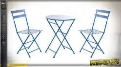 TABLE SET 3 METAL 60X60X70 PLIABLE BLEU