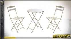TABLE SET 3 METAL 60X60X70 PLIABLE GRIS CLAIR