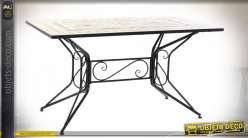 TABLE FER FORGE CERAMIQUE 140X80X75,5 MOSAIQUE