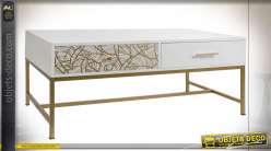 TABLE BASSE MELAMINE MÉTAL 120X60X46,5 DORÉ
