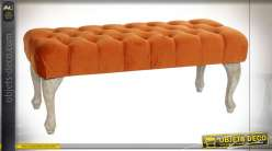 BANQUETTE POLYESTER BOIS 99X40X41 VELOURS ORANGE