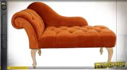 CHAISE LONGUE POLYESTER BOIS 120X56X78 VELOURS
