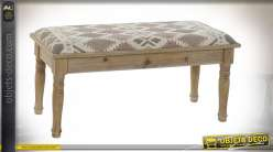 BANQUETTE POLYESTER BOIS 100X40X46 AFRICAIN