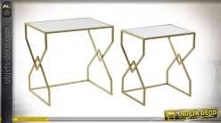TABLE AUXILIAIRE SET 2 MÉTAL 50X36,5X50 42X28X46