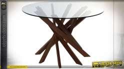 TABLE NOYER VERRE 120X120X76 12 MM. NATUREL MARRON