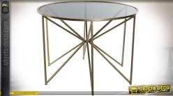 TABLE AUXILIAIRE LAITON VERRE 61X43 NOIR