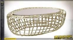 TABLE BASSE MÉTAL VERRE 107X61X38 DORÉ