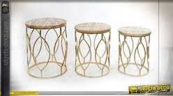 TABLE AUXILIAIRE SET 3 MANGUE RÉSINE 46X62 DORÉ