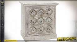 TABLE DE CHEVET SAPIN MDF 56X35X59 VIEILLI BLANC