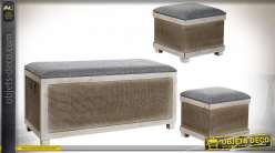 BANQUETTE SET 3 PIN POLYESTER 100X40X49 GRIS
