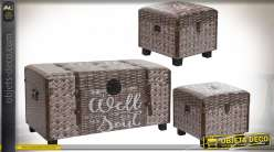 COFFRE SET 3 PU MDF 80X40X43