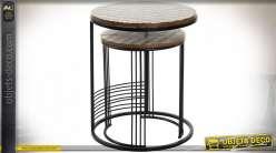 TABLE AUXILIAIRE SET 2 MANGUE MÉTAL 48X48X58