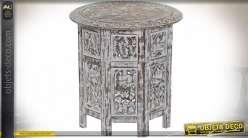 TABLE BASSE MANGUE 45X45X48 AMOVIBLE VIEILLI BLANC