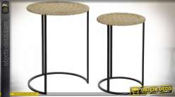 TABLE AUXILIAIRE SET 2 CORDE MÉTAL 42X56 NATUREL