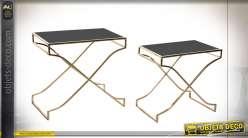 TABLE AUXILIAIRE SET 2 VERRE MÉTAL 60X38X56 NOIR