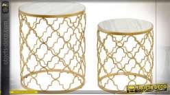 TABLE AUXILIAIRE SET 2 MÉTAL MARBRE 48X57