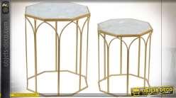 TABLE AUXILIAIRE SET 2 MÉTAL MARBRE 46X60