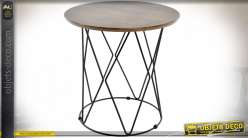 TABLE AUXILIAIRE MDF ACIER 40X40X42 IMPRIMÉ MARRON
