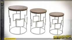 TABLE AUXILIAIRE SET 3 MANGUE ACIER 47X47X63,5