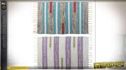 Série de deux tapis à rayures, effet tressage Kilim, colorés et décoratifs, 80x50cm