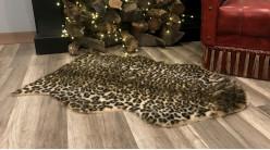 Tapis en fourrure synthétique motif léopard, en polyester doux à poils longs, 90cm