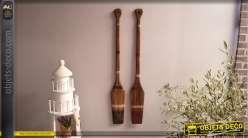 Série de deux rames de bateau en bois, finition vintage usée avec touches de corde, style bord de mer, 109cm