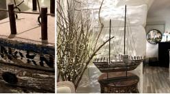 Reproduction d'un grand voilier en bois finition vintage, sur socle en métal oxydé, 69cm