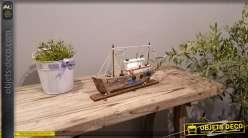 Grande reproduction d'un chalutier en bois avec éclairage LED intégré, finition effet ancien, 40cm