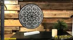 Déco à poser en bois et métal de style ethnico chic, motifs mandala sculptés