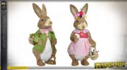 Couple de lapins en fibres naturelles et base en polyester, décoration de Paques, 40cm