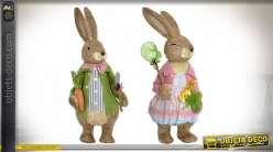 Série de deux lapins en fibres naturelles et base polyester, style campagne enfantine, 62cm