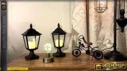 Série de deux lanternes noires avec bougies LED 31 cm