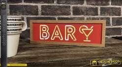 Set de deux décorations lumineuses Open & Bar, finition verte et rouge, en bois clair