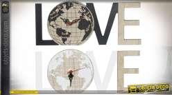 HORLOGE MDF 27X3X11,5 0,15 LOVE CARTE DU MONDE 2 M