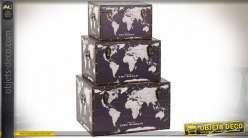 COFFRE SET 3 TOILE MDF 59X35X35 CARTE DU MONDE