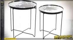 TABLE AUXILIAIRE SET 2 MÉTAL 42X42X49 HYPER FLORAL