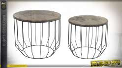 TABLE AUXILIAIRE SET 2 BOIS 55,5X55,5X47,5 CARTE D