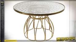 TABLE BASSE FER VERRE 71X71X45 ETNICO DORÉ