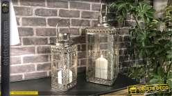 Série de 2 lanternes originales en métal chromé 45 cm