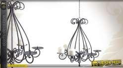 Lustre chandelier en fer forgé à six feux