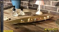 Vide poche/Centre de table en métal finition doré mate, forme de feuille de 48cm de long
