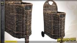 Chariot à bûches en poelet style rustique