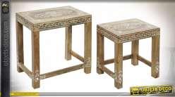 TABLE AUXILIAIRE SET 2 MANGUE ACRYLIQUE 45X30X45