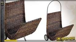 Chariot à bûches en poelet et métal forme chistera