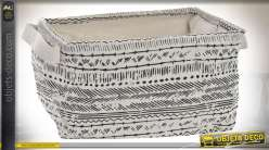 Corbeille en tissus avec rebords rigides et anses, finition blanc écru et motifs géométriques noirs, 33cm