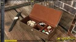 Boîte à bijoux en bois et cuir synthétique, couleur brun cigare 21cm