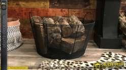 Corbeille à bûche de forme ronde, en métal effet grillagé, finition noire mate avec grandes anses de transport, Ø55cm