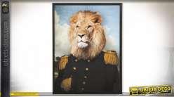 TABLEAU MDF VERRE 74X3X97 LION ENCADRÉ